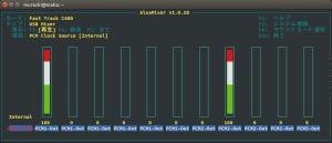 alsamixer でのボリューム調整の様子